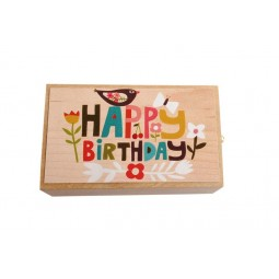 "Wooden music box with the melody ""Happy Birthday"" and a small drawer"
