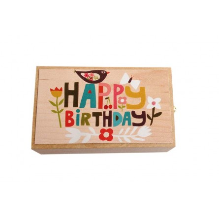 """Wooden music box with the melody """"Happy Birthday"""" and a small drawer"""