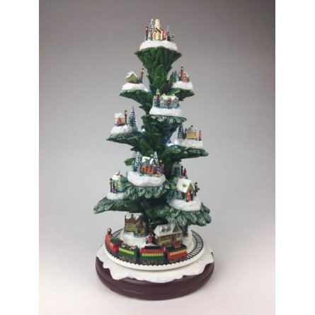 Music box pine-tree with houses and train