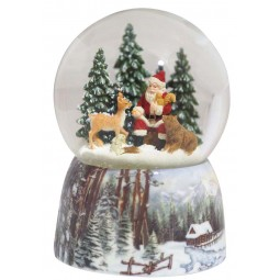 Snow globe Santa in the forest