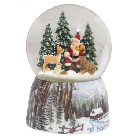 Snow globe Santa in the forest