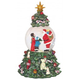 Snow globe Santa in Christmas tree
