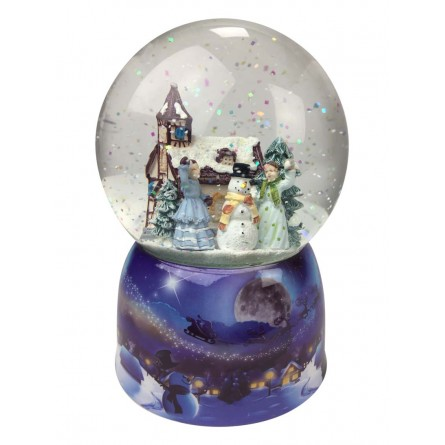 snow Globe and glitter, two girls throw snowballs at each other