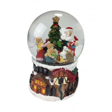 Snow globe Santa distributing gifts