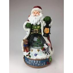 Music box Santa with snow globe