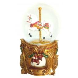 Snow globe horse carousel