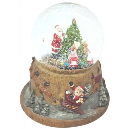 Snow globe Santa with Christmas tree and train