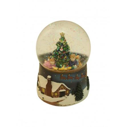 Glitter ball Children under the Christmas tree