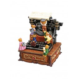Music box typewriter bears