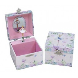 Square keepsake box with ballerina and drawer light blue