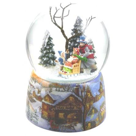 Snow globe family sleigh