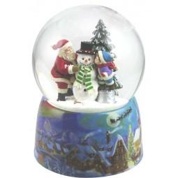 Snow globe Santa, kid & snowman
