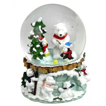 Snow globe of polar bears