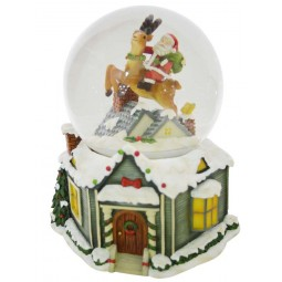 Snow globe Santa on reindeer