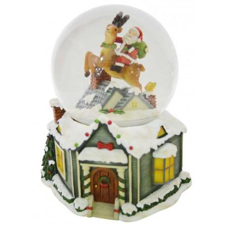 Snow globe Santa on reindeer