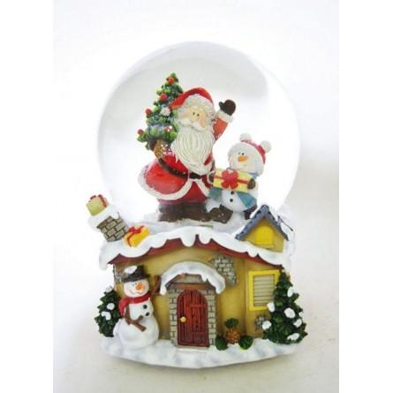Snow globe Santa, tree & snowman