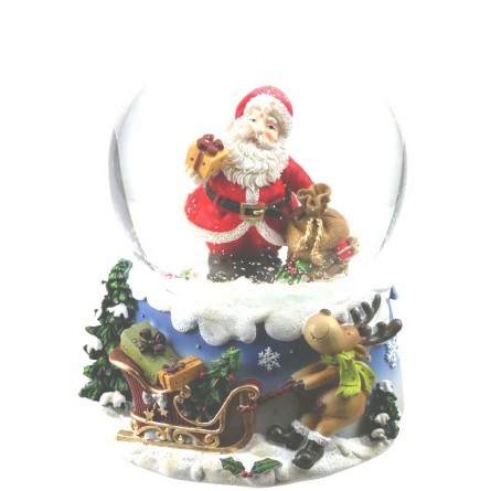 Snow Globe Santa with Sack & Gift