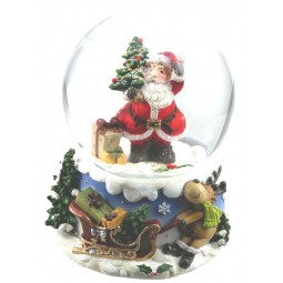 Snow globe Santa with tree & gift