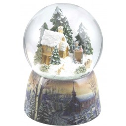 Snowglobe forest house & sled
