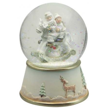 Snow globe Santa on rocking horse