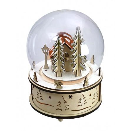 Glas globe with wooden base