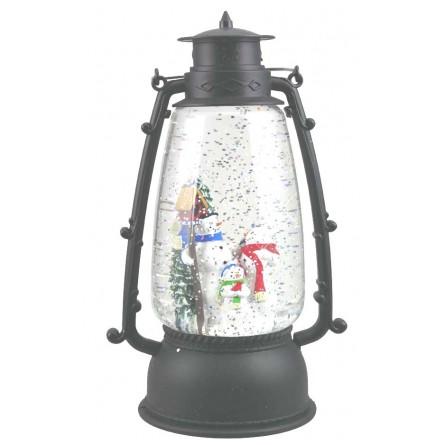Round Lantern with snow man scene