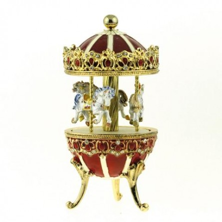 """Jewelry egg """"Carousel red"""""""