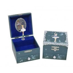 Square keepsake box with ballerina and drawer dark blue