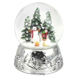 Globe snowman silver 100 mm