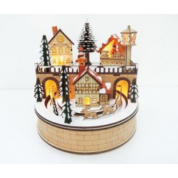Wooden village with sleigh