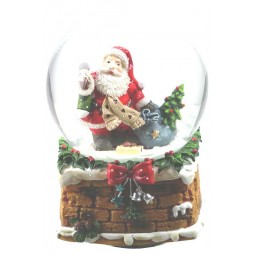 Snow globe Santa with scarf