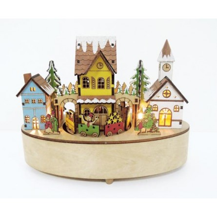 Oval shaped wooden house scene with light