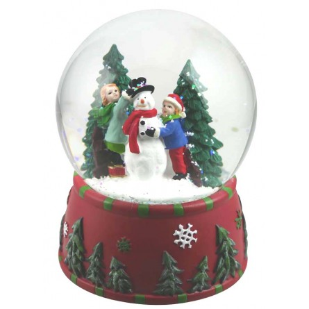 Snow globe snowman build red