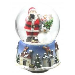 Globe Santa with snowman