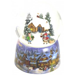 Snow globe kids with dog