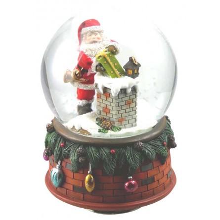 Snow globe Santa at the chimney