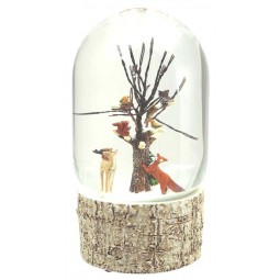 Oval snow globe tree with birds and wildlife