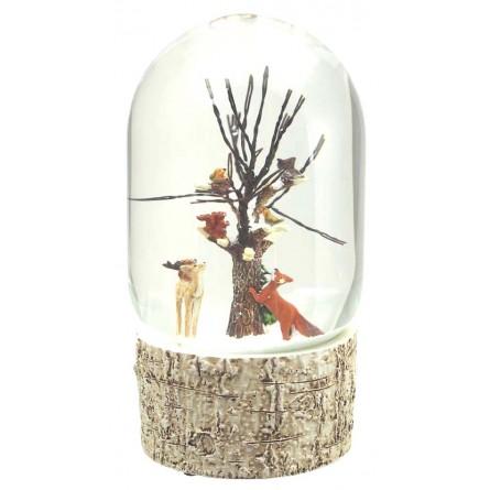 Oval snow globe tree with birds and wildlife