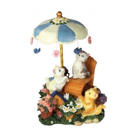Cats under the umbrella