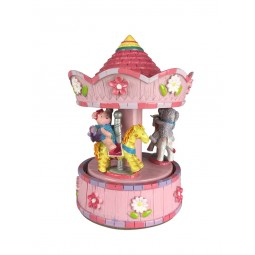 Pink carousel with bear and animals