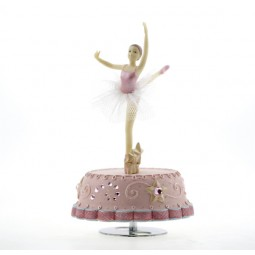 Pink music box with dancing ballerina