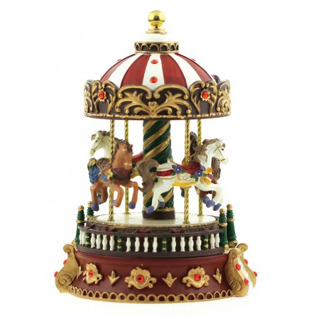 Carousel with red glittering stones
