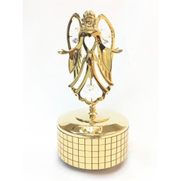 Gold plated iron musical box with Angel