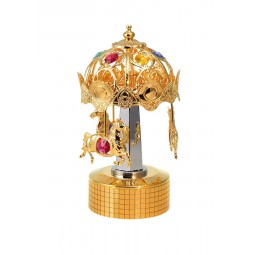 Gold plated iron musical box carousel with horses