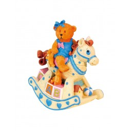 Music box blue bear on rocking horse
