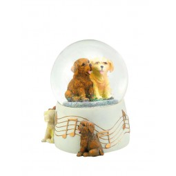 Glitter globe 100 mm with 2 dogs