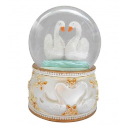 Glitter globe 100 mm with swans
