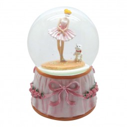Glitter globe ballerina with dog