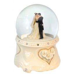 Glitter globe bridal pair