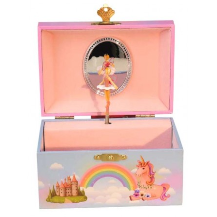 Jewelry musical box unicorn and fairy